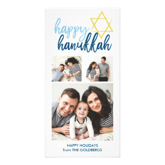 Happy Hanukkah Modern Script 3 Photo Holiday Personalized Photo Card