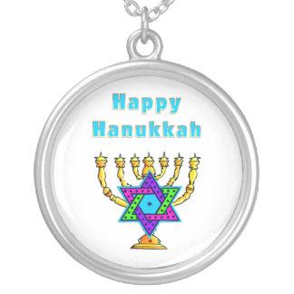 Happy Hanukkah Round Pendant Necklace