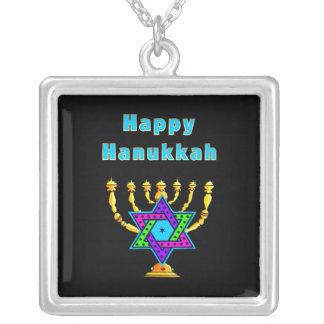 Happy Hanukkah Square Pendant Necklace