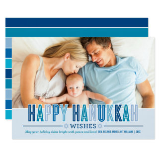 Happy Hanukkah Photo Card | Shades of Blue 13 Cm X 18 Cm Invitation Card