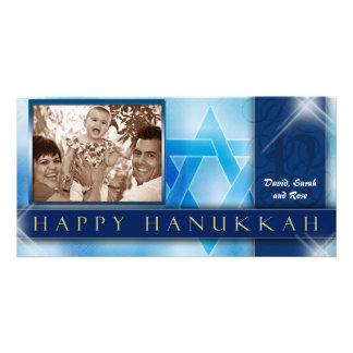 Happy Hanukkah Photo Greeting Card template