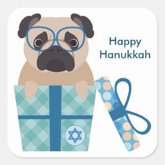 Happy Hanukkah Pug Sticker
