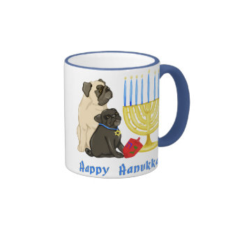 Happy Hanukkah Pugs and Menorah Mugs