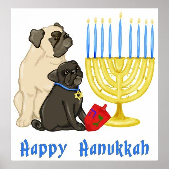 Happy Hanukkah Pugs and Menorah Poster - Customise