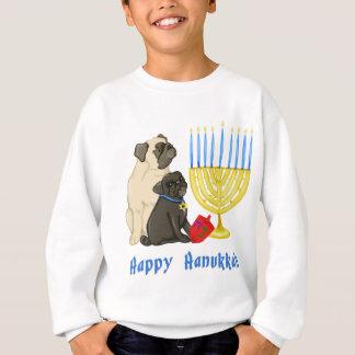 Happy Hanukkah Pugs with Menorah Tees and Sweats
