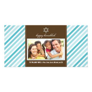 Happy Hanukkah Ribbon Family Photocard (aqua) Photo Card Template