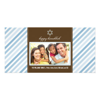 Happy Hanukkah Ribbon Family Photocard (blue) Card
