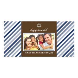 Happy Hanukkah Ribbon Family Photocard (navy) Picture Card