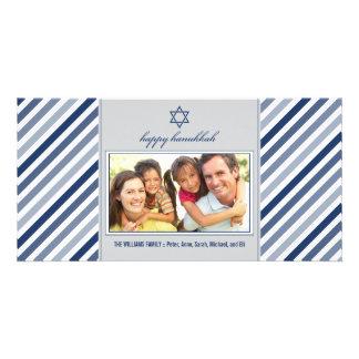 Happy Hanukkah Ribbon Family Photocard (silver) Custom Photo Card