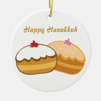 Happy Hanukkah Round Ceramic Decoration