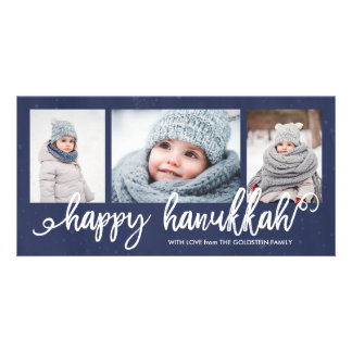 Happy Hanukkah Script 3-Photo Holiday Photo Cards