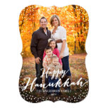 Happy Hanukkah Script Photo Card Custom Announcement