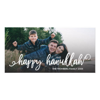 Happy Hanukkah Script Typography Holiday Photo Customised Photo Card