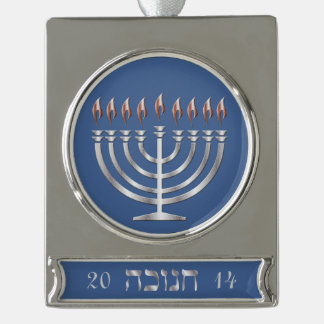 Happy Hanukkah Silver Menorah - Banner Ornament 2 Silver Plated Banner Ornament