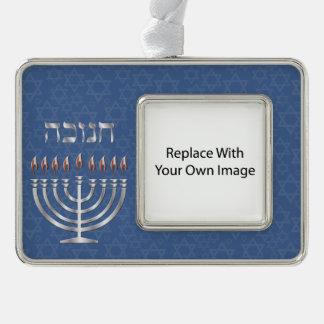 Happy Hanukkah Silver Menorah Photo Ornament - 1