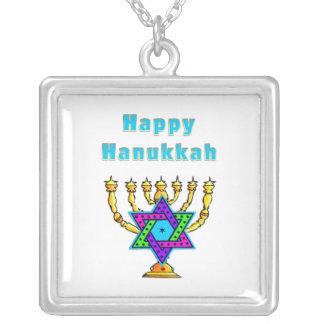 Happy Hanukkah Silver Plated Necklace