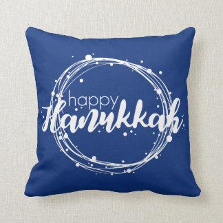 Happy Hanukkah Snow Bubbles Holiday Throw Pillow