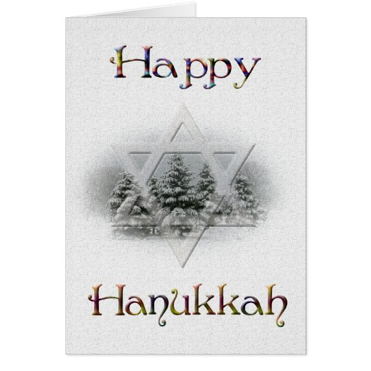 Happy Hanukkah-Snow Covered Trees Card