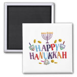 Happy Hanukkah Square Magnet