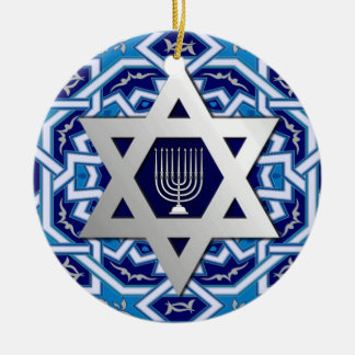 Happy Hanukkah! Star of David and Menorah Design Christmas Ornament