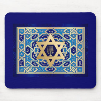 Happy Hanukkah! Star of David  and Menorah Design Mouse Pad