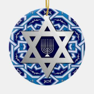 Happy Hanukkah! Star of David and Menorah Design Round Ceramic Decoration