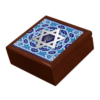 Happy Hanukkah. Star of David and Menorah Gift Box