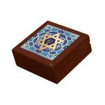 Happy Hanukkah. Star of David and Menorah Small Square Gift Box