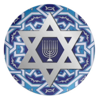 Happy Hanukkah. Star of David Card and Menorah Plate