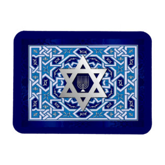 Happy Hanukkah. Star of David & Menorah Magnets
