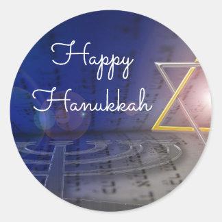 Happy Hanukkah  Star of David Menorah Stickers