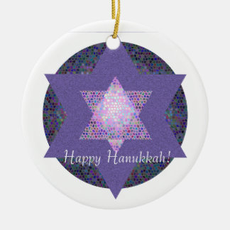 Happy Hanukkah! Star of David MultiColored Christmas Ornament