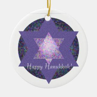 Happy Hanukkah! Star of David MultiColored Round Ceramic Decoration
