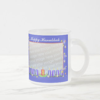 Happy Hanukkah Stars and Candles 2-Photo Frame Frosted Glass Coffee Mug