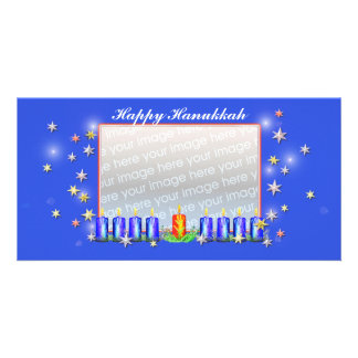 Happy Hanukkah Stars and Candles Personalized Photo Card