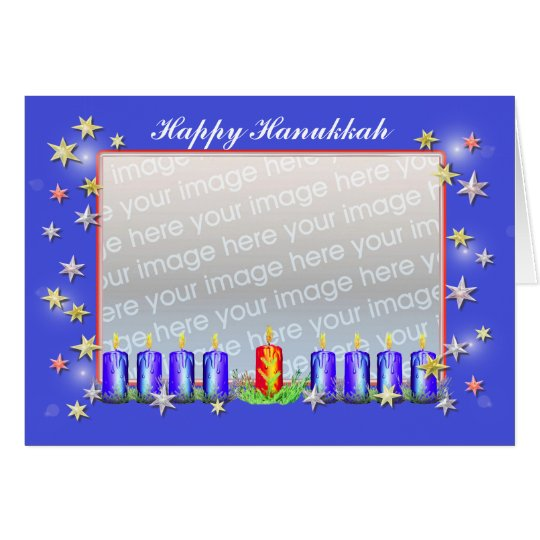 Happy Hanukkah Stars and Candles (photo frame) Card