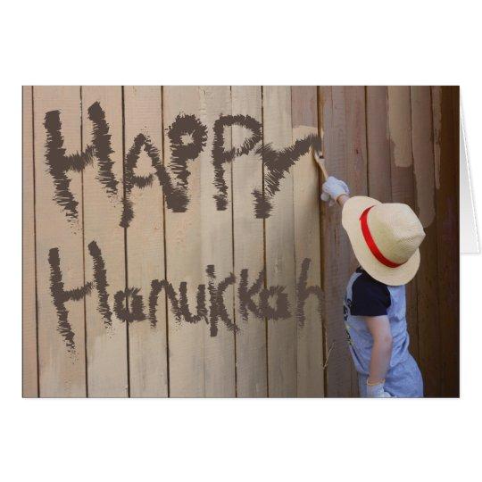 Happy Hanukkah Sunhat Boy Painting Fence Card