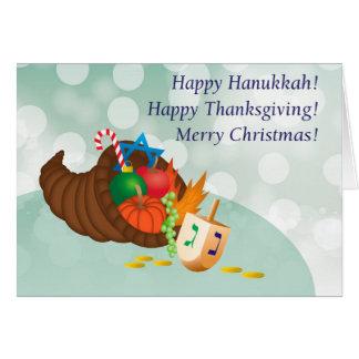 Happy Hanukkah, Thanksgiving, Christmas! Greeting Card