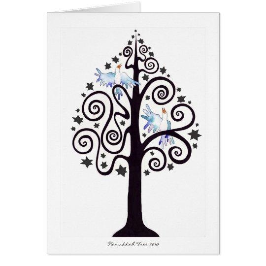 Happy Hanukkah Tree Greeting Card Holiday 2010