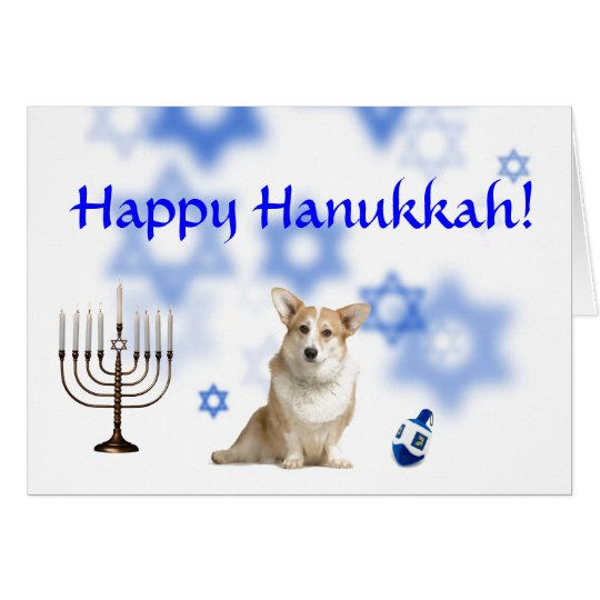 Happy Hanukkah Welsh Corgi (Caridgan) Card