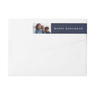 Happy Hanukkah | Your Photo on Holiday Blue Wrap Around Label