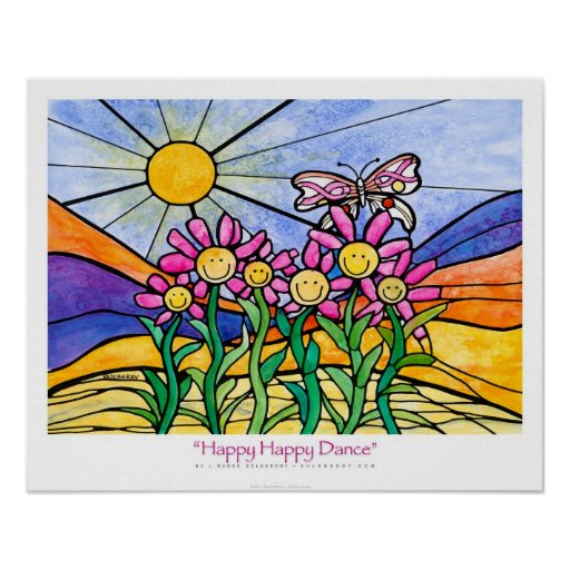 """Happy Happy Dance"" Pink Ribbon poster Ekleberry"