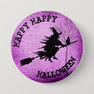 Happy Happy Halloween Witchy Purple Button