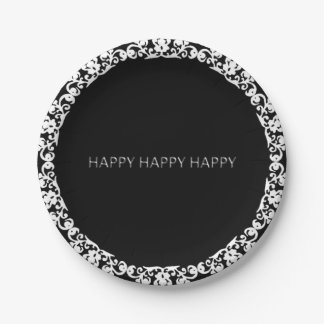 Happy-Happy-Happy-Silver-White--Lace-Black_Unisex Paper Plate