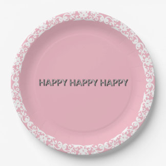 Happy-Happy-Happy-Silver-White--Lace-Pink_Unisex Paper Plate