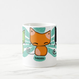 happy.happy.meh kitties with aqua flower on a mug