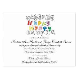 happy happy people wedding invite post cards