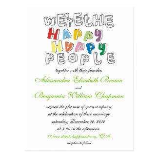 happy happy people wedding invite postcards