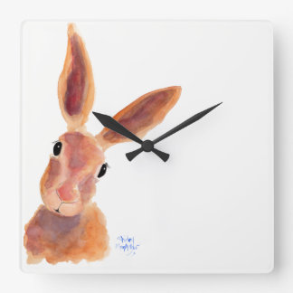 Happy Hare ' Jim Jam' by Shirley MacArthur Square Wall Clock
