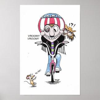 Happy Harry & Hooch the cat (Bikers?) Poster